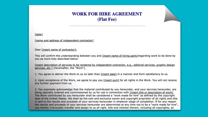 AGREEMENT FOR HIRE